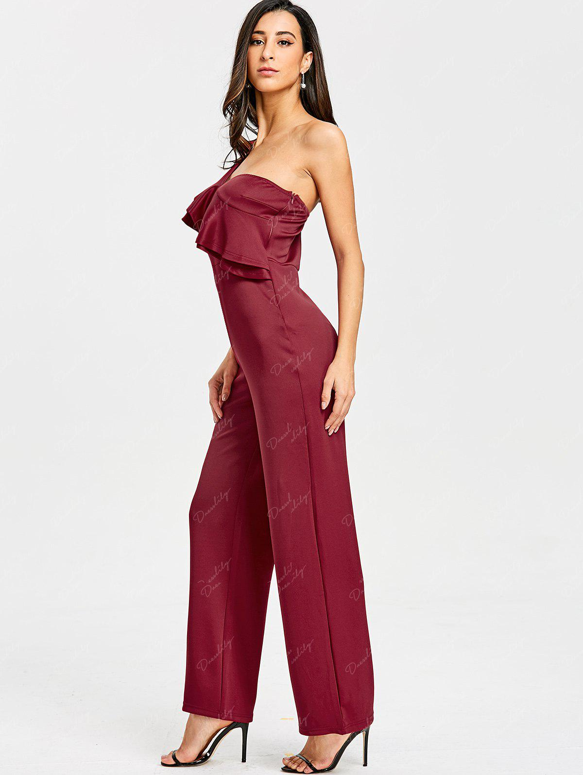 One Shoulder Flounce Wide Leg Jumpsuit - CLARET L