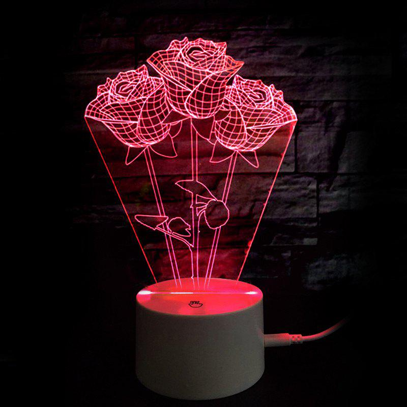 Mothers Day Gift Valentine Color Changing Roses Table Night Light - TRANSPARENT