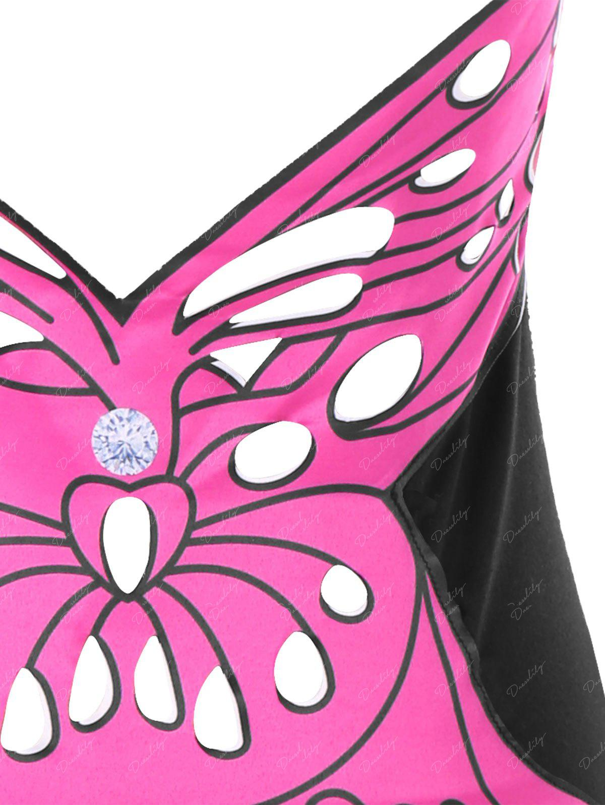 Halter Butterfly Pattern Open Back Tank Top - BLACK L