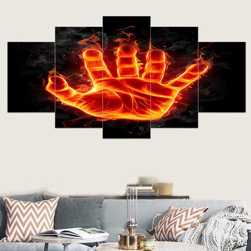 Flame Palm Printed Unframed Wall Art Canvas Printings - FLAME RED 1PC:8*20,2PCS:8*12,2PCS:8*16 INCH( NO FRAME )