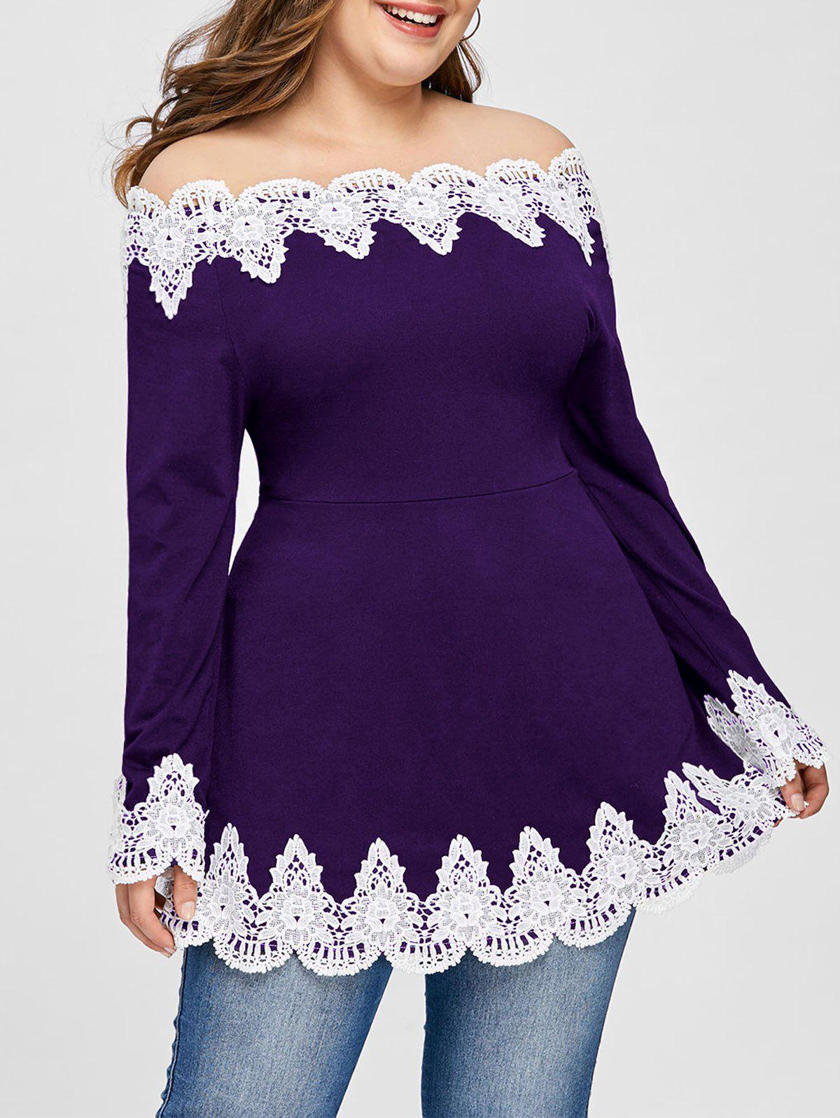 Plus Size Off The Shoulder Embroidery Top - PURPLE XL