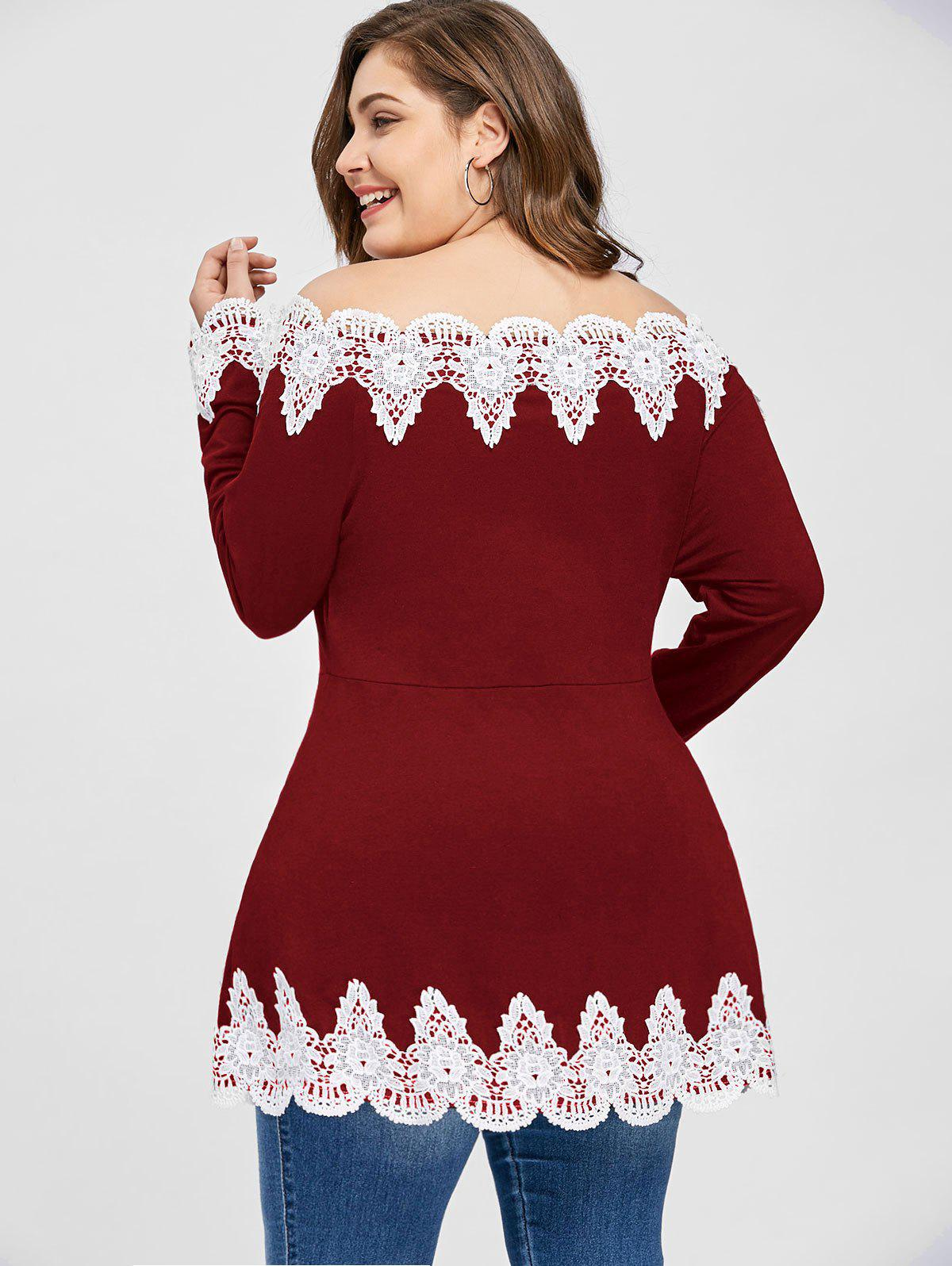 Plus Size Off The Shoulder Embroidery Top - WINE RED 2XL