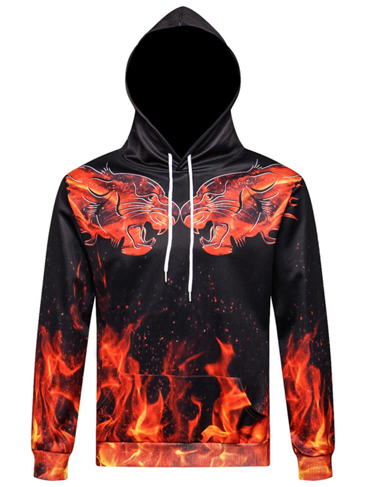 Flame 3D Tigers Print Pullover Hoodie leopard flame 3d print pullover hoodie