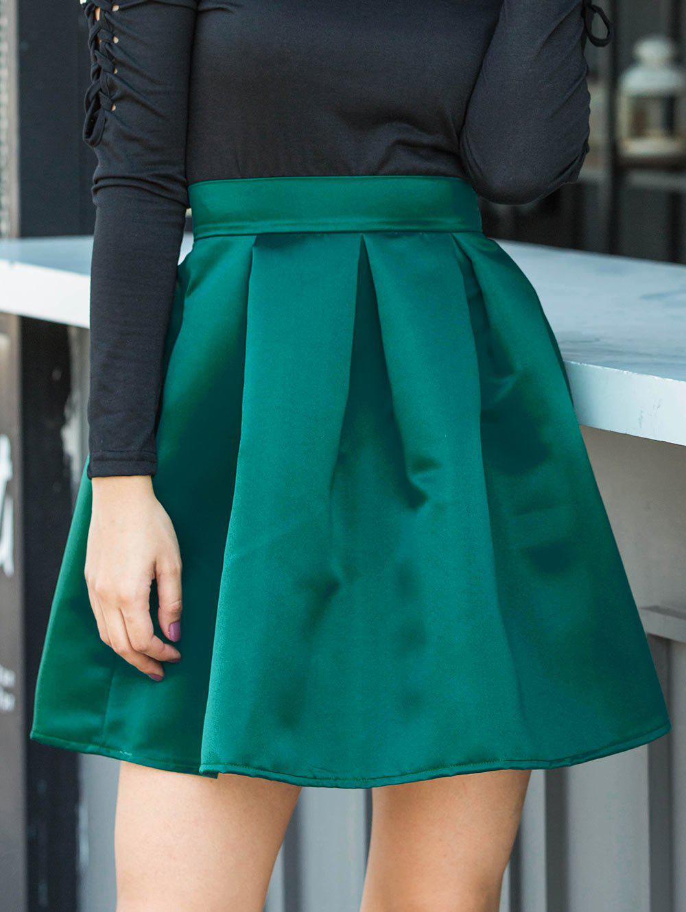 Flare Mini Skirt - GREEN M