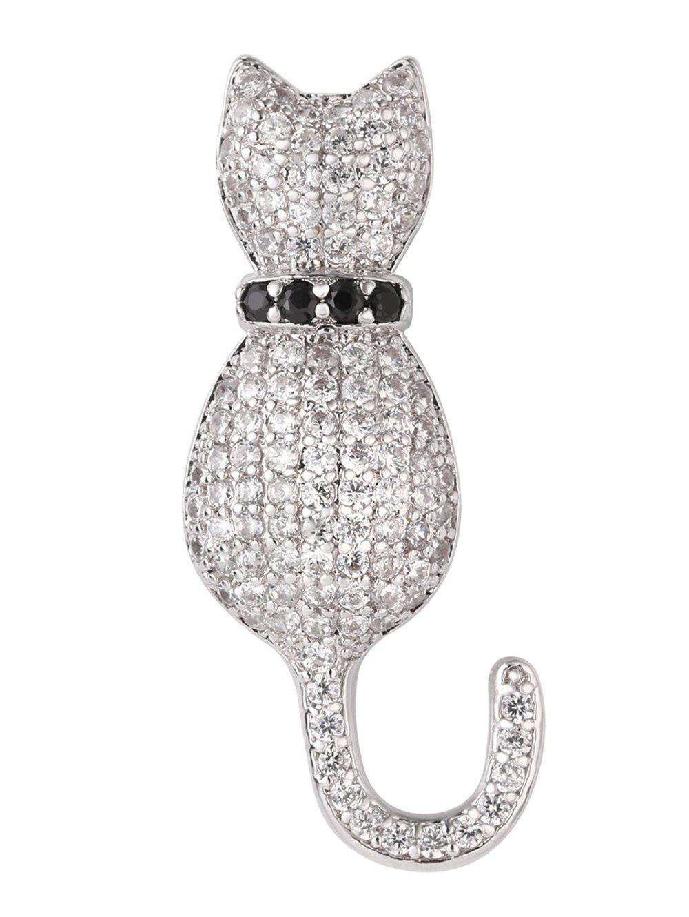 Broche chaton strass minuscule - Argent