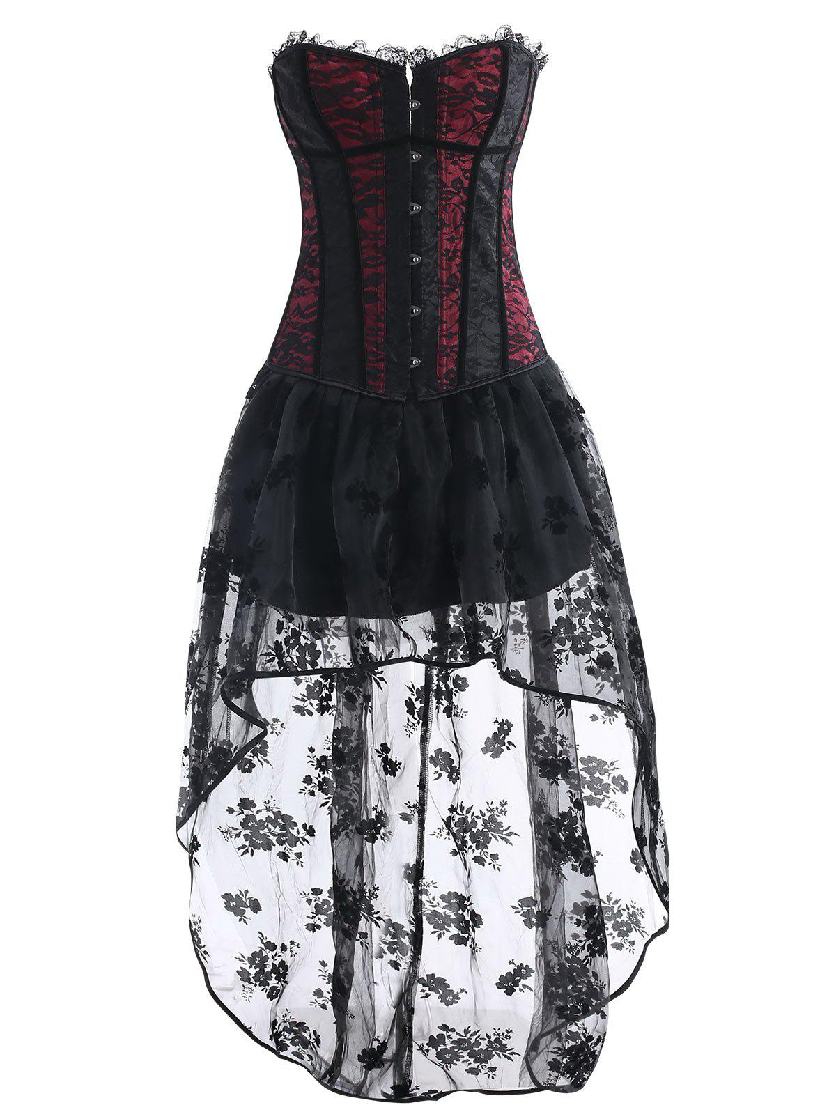 High Low Asymmetric Corset Vintage Dress - WINE RED M