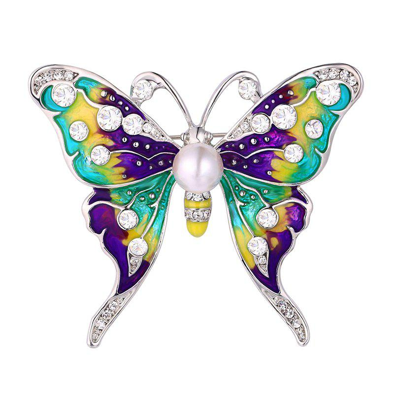 Rhinestone Artificial Pearl Butterfly Brooch
