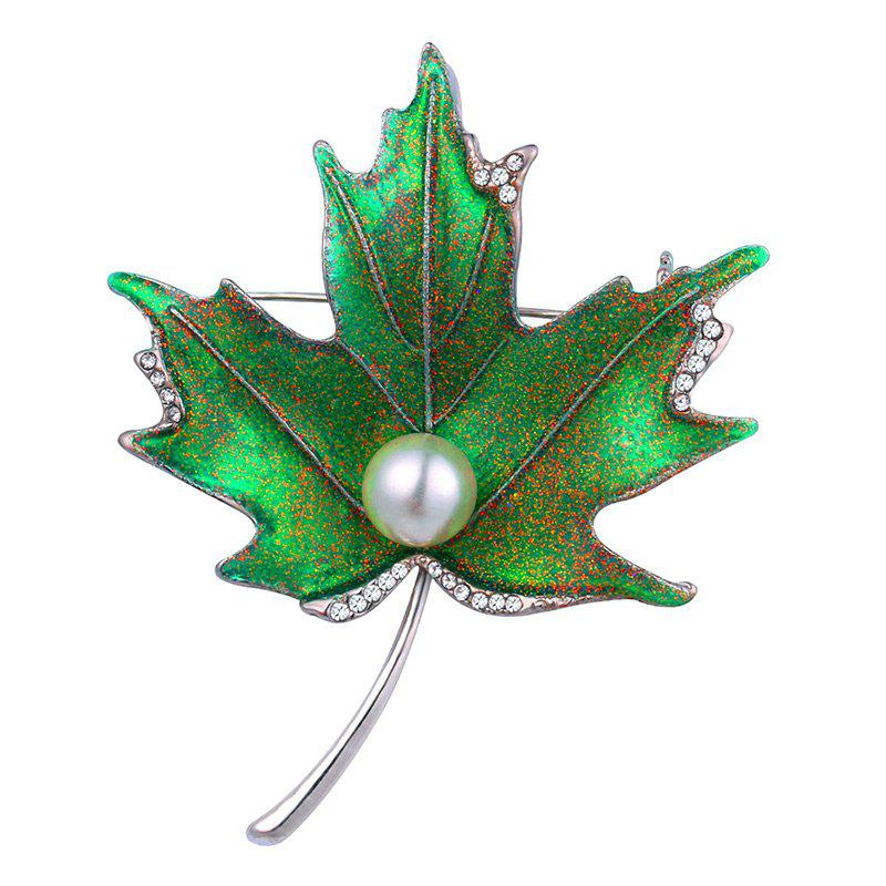 Faux Pearl Rhinestoned Maple Leaf Brooch - SILVER