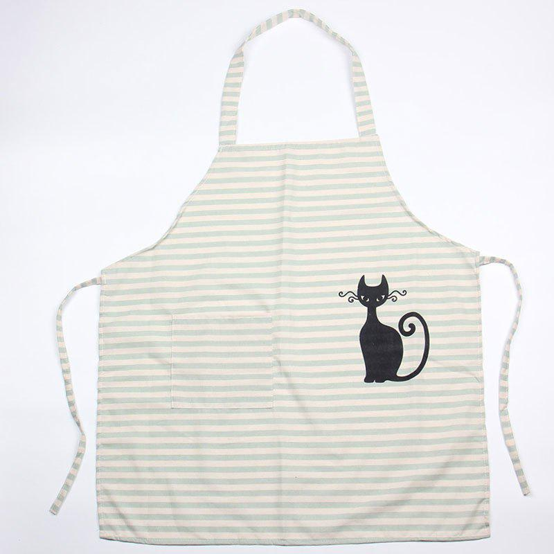 Cat Striped Pocket Design Cooking Apron - GREEN 68*61CM