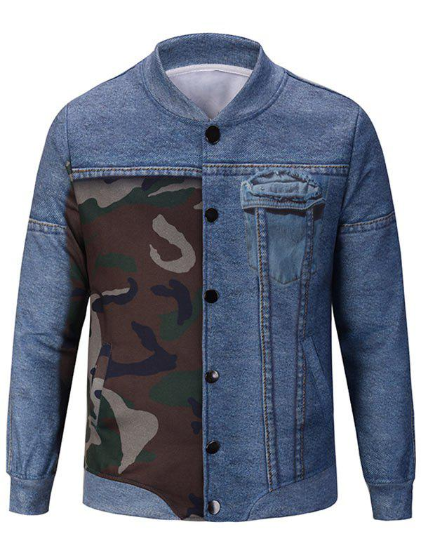 Camouflage and Denim Pattern Stand Collar Jacket - DENIM BLUE XL