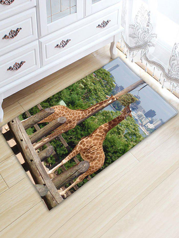 Two Giraffes Print Skidproof Flannel Bath Rug vintage color block skidproof flannel bath rug