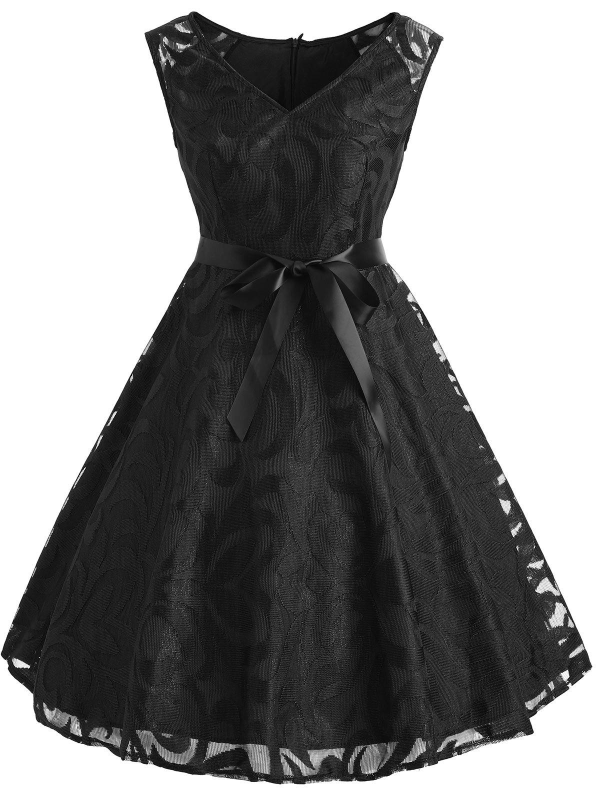 Lace Overlay V Neck Belted Dress - BLACK XL