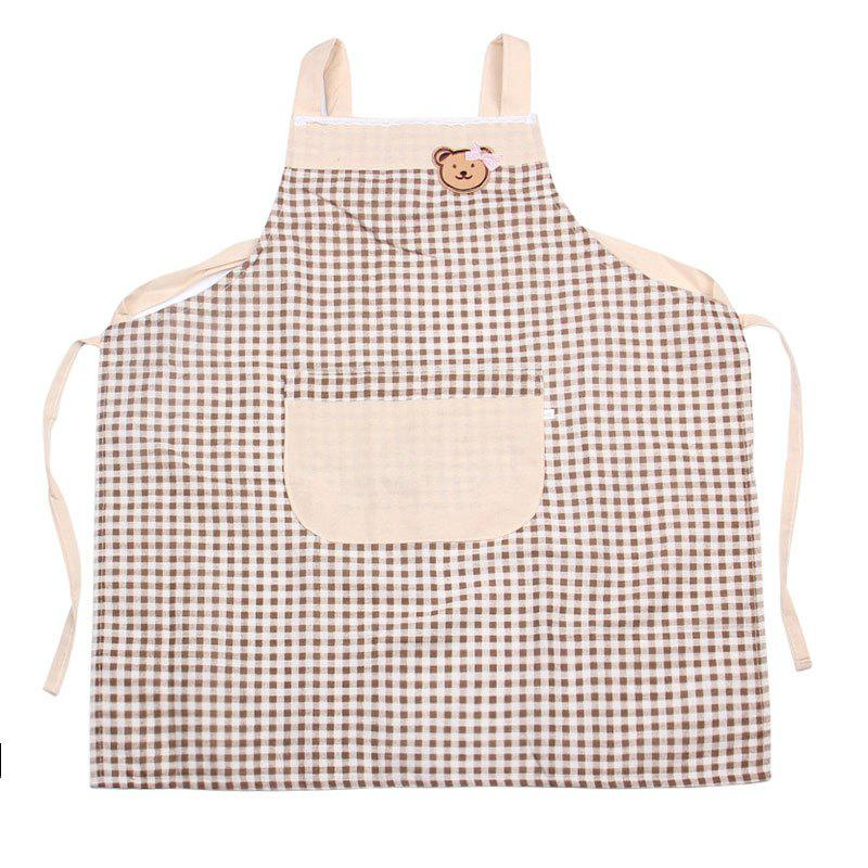 Bear Plaid Cooking Apron - LIGHT COFFEE 71*67CM