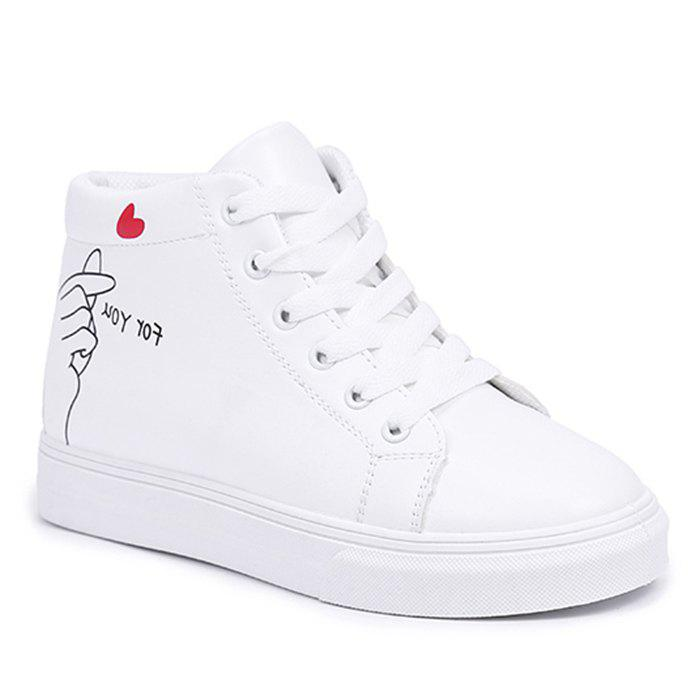 Print High Top Casual Shoes - WHITE 40
