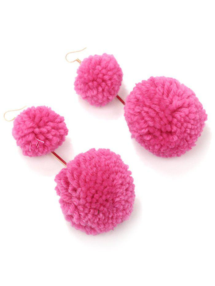 Boucles d'Oreilles Crochet Double Hairball Alloy - rose