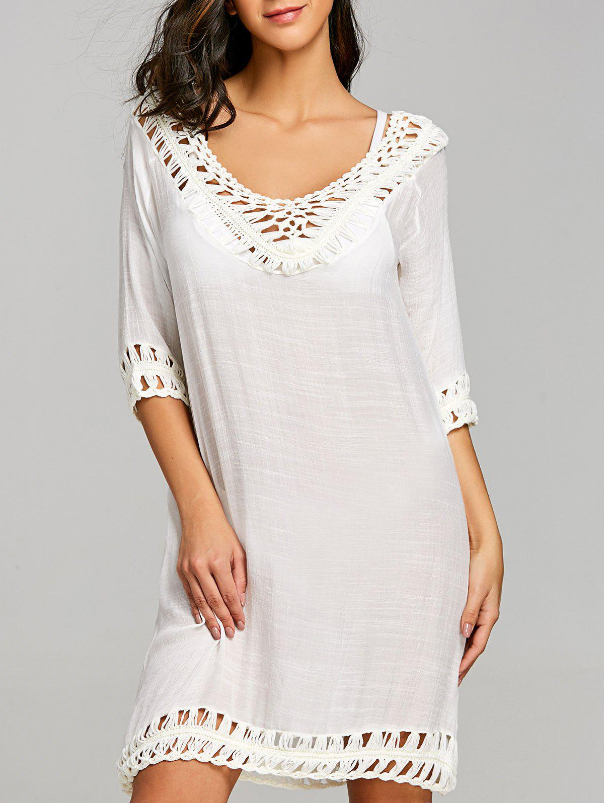 Crochet Trim Hollow Out Beach Dress - WHITE ONE SIZE