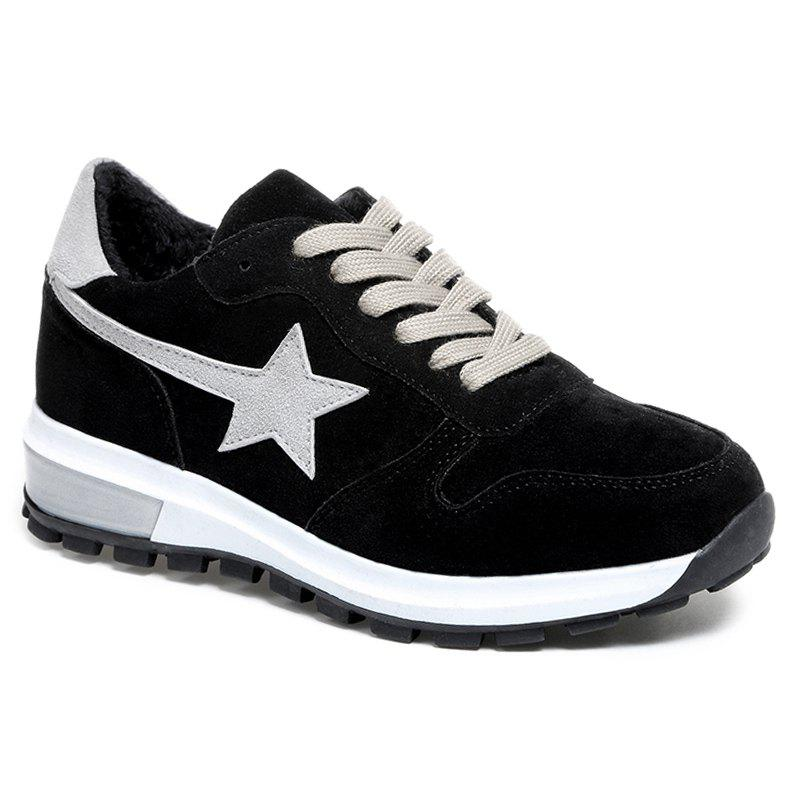 Color Block Star Patched Suede Sneakers - BLACK 39