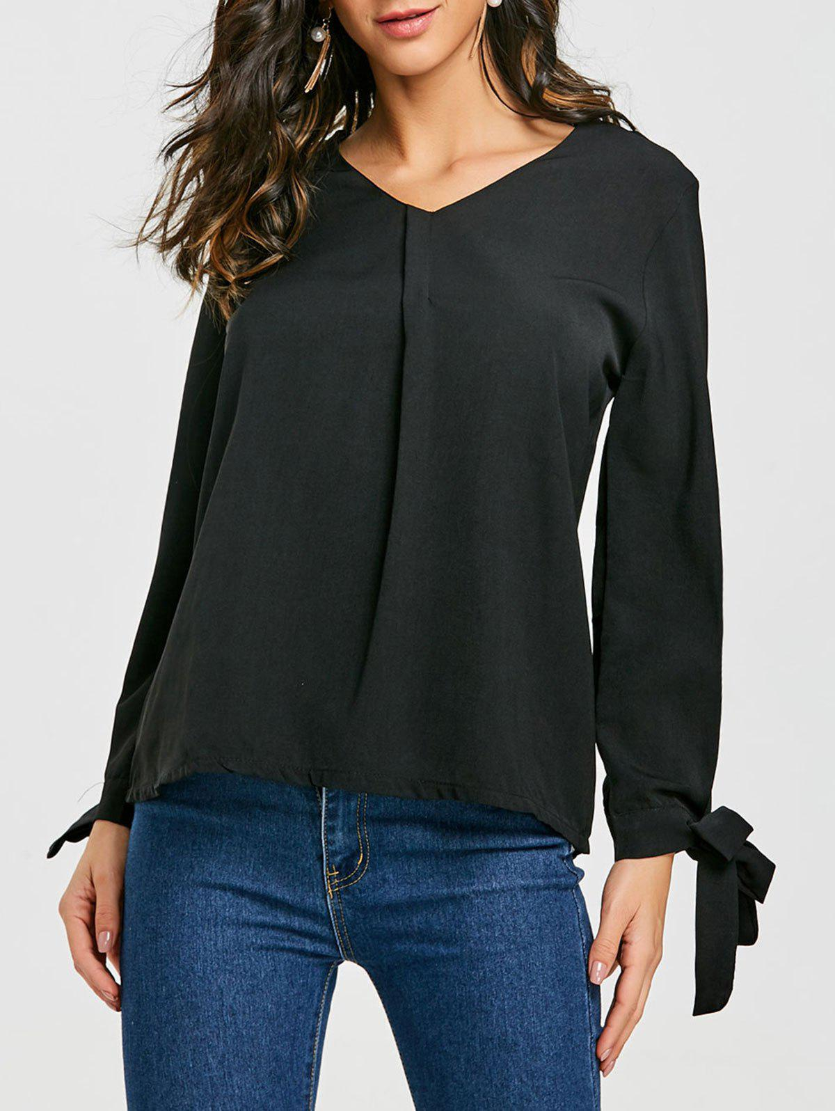 Chiffon V Neck Blouse - BLACK L