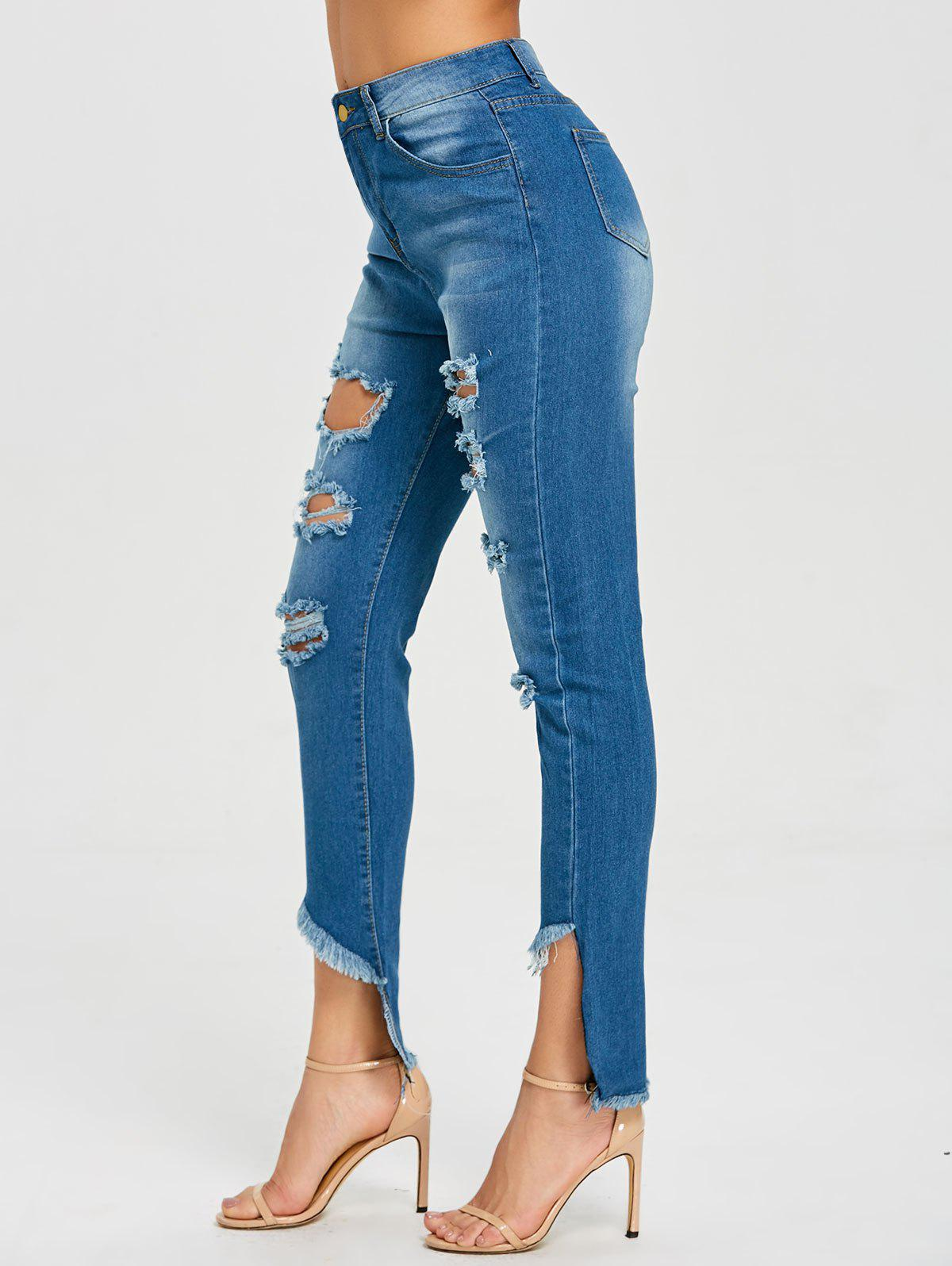 High Waisted Frayed Ripped Jeans - BLUE L
