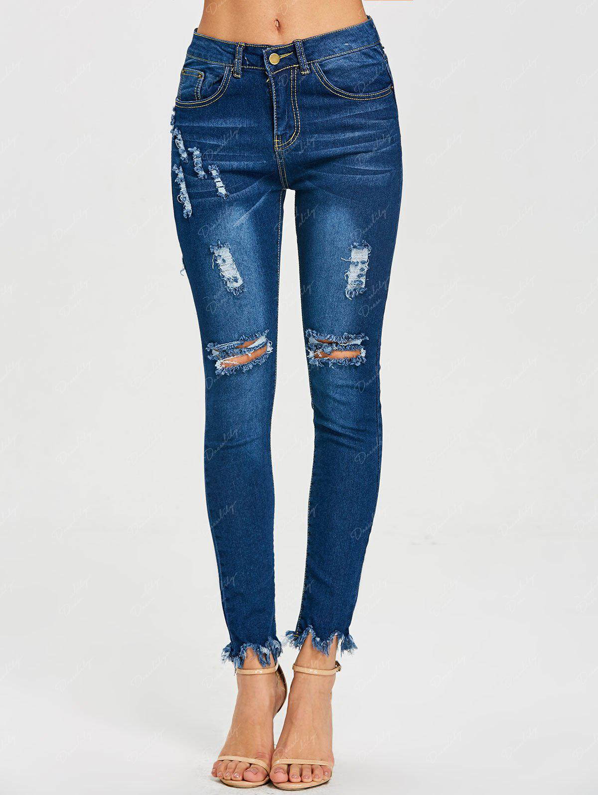 Skinny Ripped Frayed Jeans - BLUE M