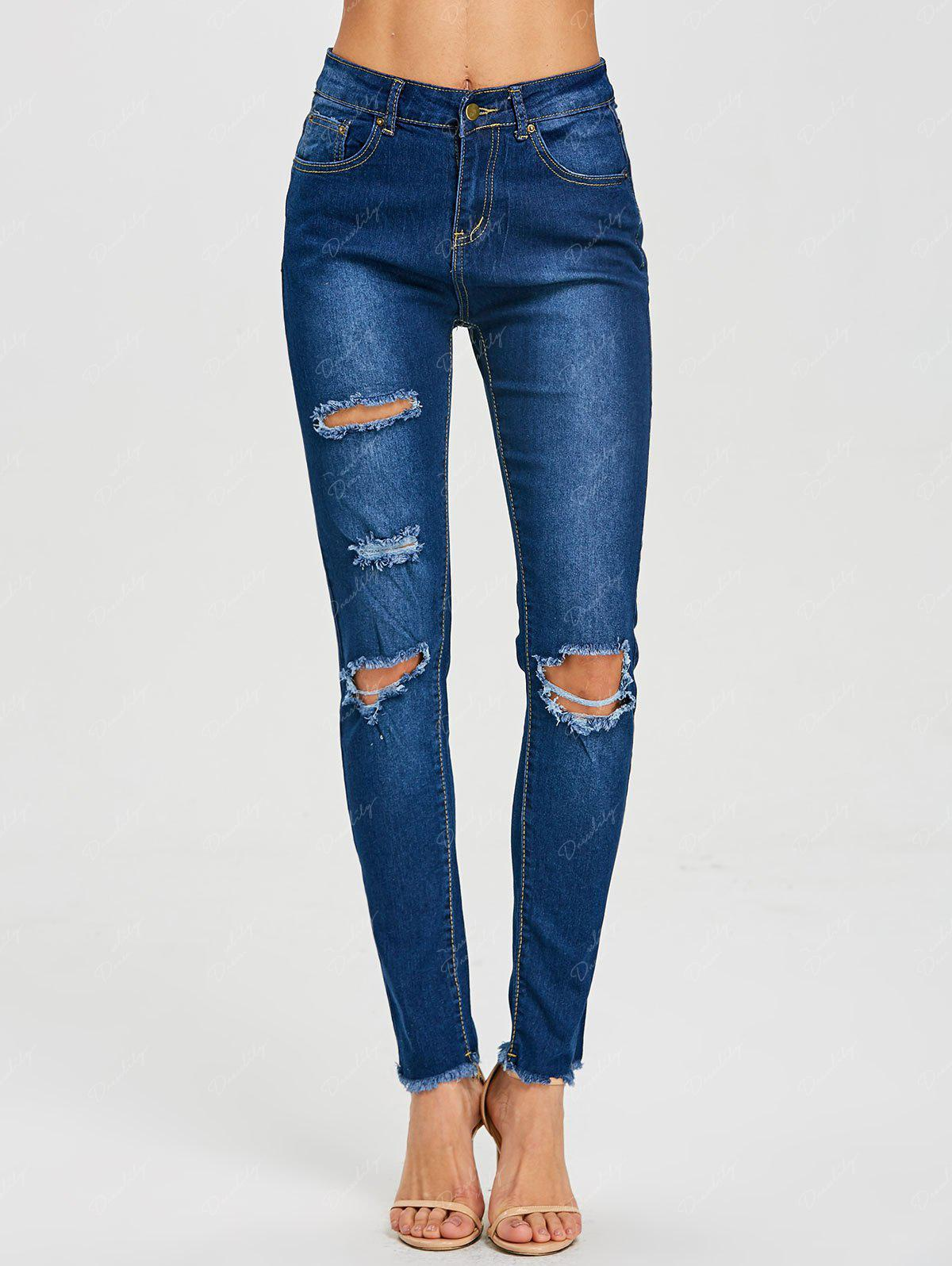 Skinny Ripped High Waisted Jeans - DEEP BLUE M