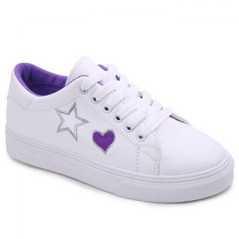 Heart Star Pattern PU Leather Skate Shoes - PURPLE 40