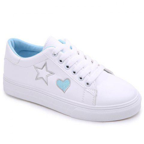 Heart Star Pattern PU Leather Skate Shoes - BLUE 39