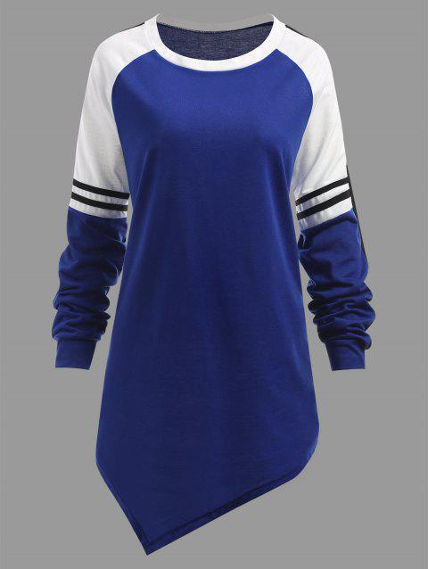 Color Block Plus Size Sweatshirt - BLUE 3XL