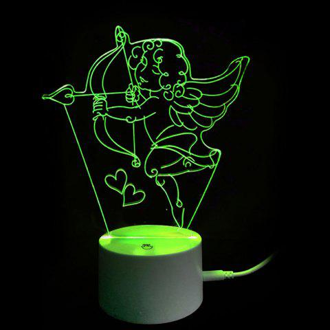 Valentine's Day 3D Cupid's Bow USB Charging LED Touch Night Light - TRANSPARENT
