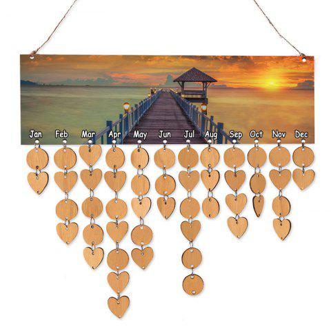 Wooden Bridge Scenery Printed Decoration Birthday Reminder Hanging Plaque - ORANGE