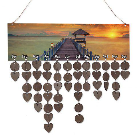 Wooden Bridge Scenery Printed Decoration Birthday Reminder Hanging Plaque - COFFEE