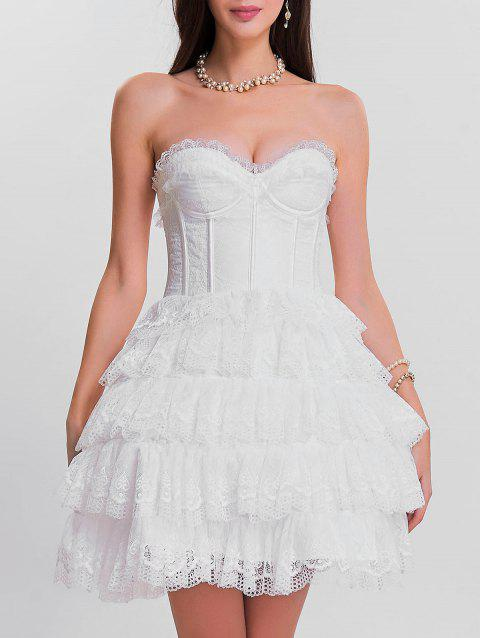Strapless Tier Lace Ruffles Corset Dress - WHITE S