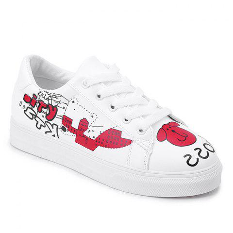 Patchwork Casual Skate Shoes - RED 37