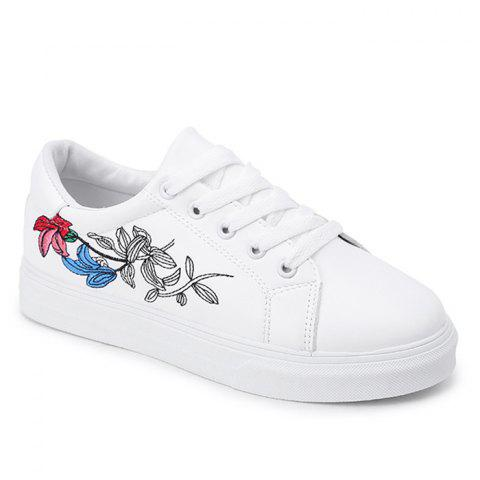 Casual Florals Embroidered Skate Shoes - WHITE 37