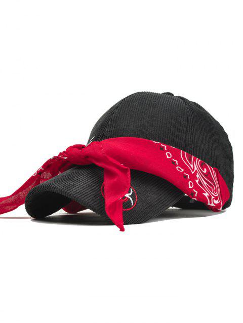 Ribbon Decorated Corduroy Baseball Cap - RED