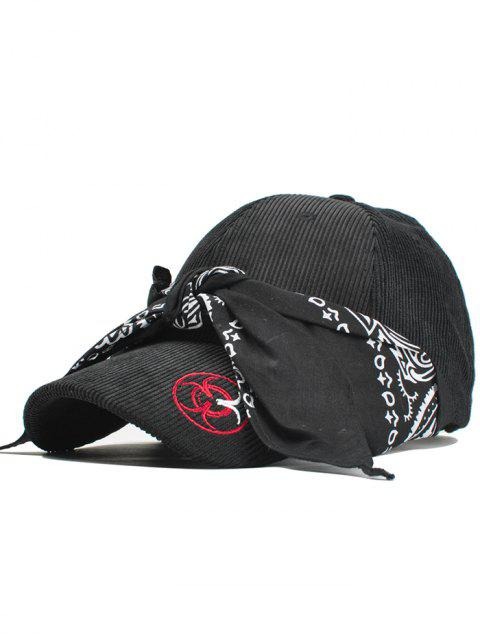 Ribbon Decorated Corduroy Baseball Cap - BLACK