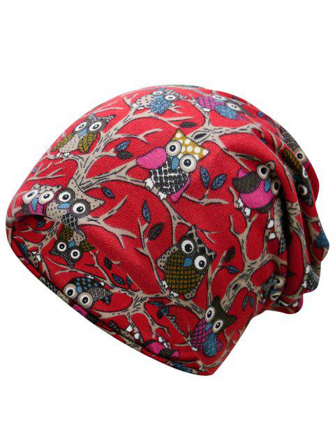 Cute Owl Pattern Decorated Lightweight Beanie - RED