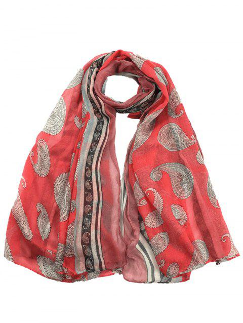 Unique Cashew Pattern Embellishedd Silky Long Scarf - WATERMELON RED