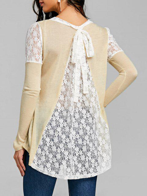 Long Sleeve Back Tie Up Lace Insert Top - OFF WHITE XL