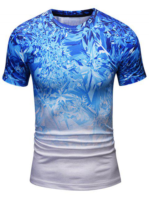 Short Sleeve Crew Neck Shattered Ice Pattern Tee - BLUE L