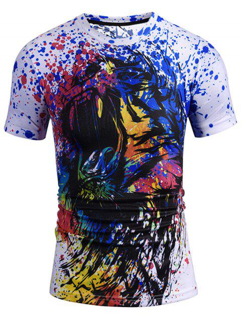 Short Sleeve Paint Splatter Monster Pattern Tee - COLORMIX L