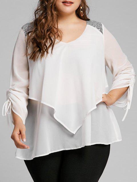 Plus Size Sequined Panel Overlay Blouse - WHITE 5XL