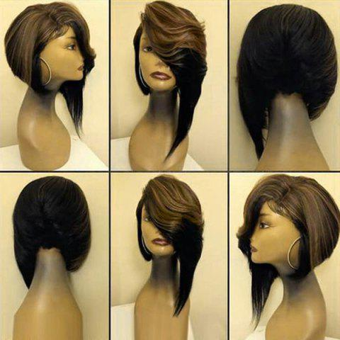 Medium Deep Side Parting Straight Colormix Asymmetric Bob Synthetic Wig - BLACK/BROWN