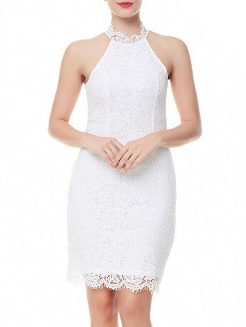 Robe Fourreau en Dentelle à Dos Fendu - Blanc XL