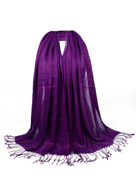 Vintage Fringed Silky Long Scarf - PURPLE