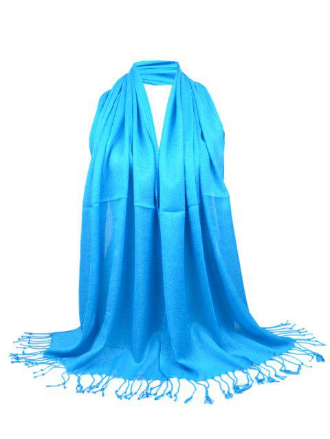 Vintage Fringed Silky Long Scarf - PEACOCK BLUE