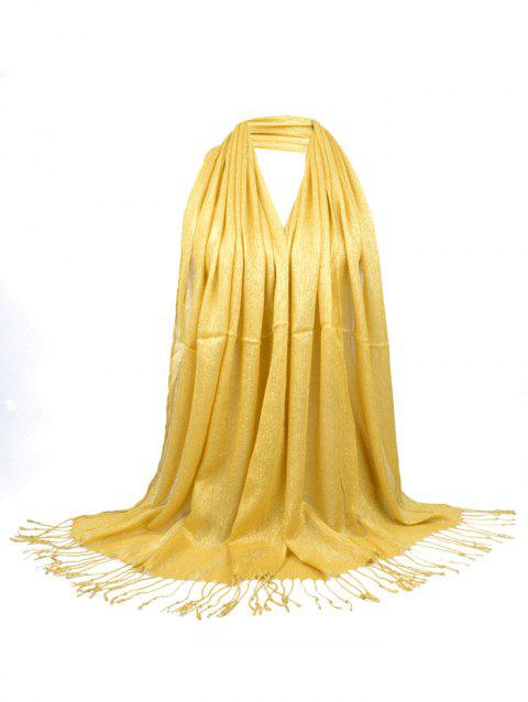 Vintage Fringed Silky Long Scarf - YELLOW