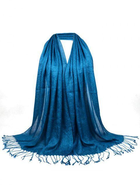 Vintage Fringed Silky Long Scarf - TURQUOISE