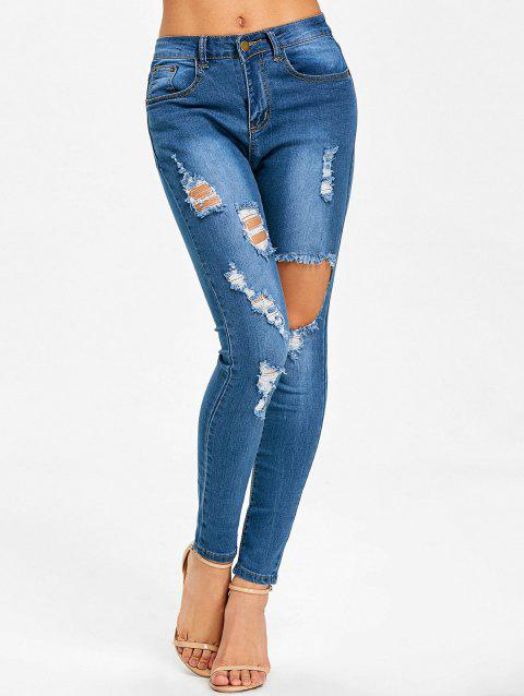 Mid Waisted Ripped Jeans - BLUE S