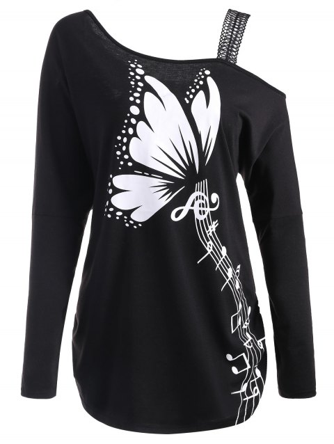Butterfly Musical Notes Printed Plus Size T-shirt - BLACK XL